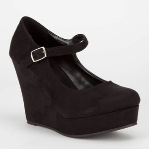 Soda Romie Black Suede Mary Jane Wedges